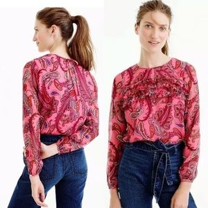J Crew Ruffle Front Silk Top Pink Paisley Size 4